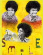 Michael Pastels Posters - Smile Poster by Cassandra Allsworth