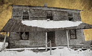 Residential Structure Posters - Snowy Abandoned Homestead Porch Poster by John Stephens