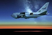 High Altitude Flying Art - Sofia Airborne Observatory In Flight by Detlev Van Ravenswaay