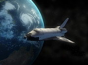 Horizontal Digital Art - Space Shuttle Backdropped Against Earth by Carbon Lotus