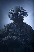 Wearing Glasses Posters - Special Operations Forces Soldier Poster by Tom Weber