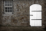 Barn Door Posters - Stone Barn Window Cathedral Door Poster by John Stephens