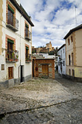 Historic Streets Prints - Street in historic Albaycin in Granada Print by Guido Montanes Castillo