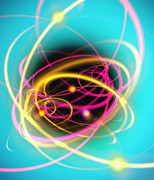 Orbit Posters - Subatomic Particles Abstract Poster by Mehau Kulyk