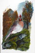 Winter Scene  For Sale Paintings - The Cardinals Lady  by Sibby S