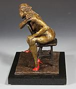 Female Sculpture Metal Prints - The Red Heels Metal Print by Dan Earle