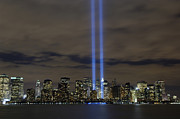 Memorial Posters - The Tribute In Light Memorial Poster by Stocktrek Images