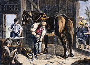 Farrier Framed Prints - The Village Blacksmith Framed Print by Granger