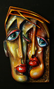 Portraits Reliefs Framed Prints - Together Framed Print by Michael Lang