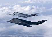 Cooperation Posters - Two F-117 Nighthawk Stealth Fighters Poster by HIGH-G Productions