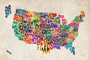 Watercolor Digital Art Posters - United States Text Map Poster by Michael Tompsett
