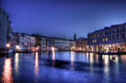 Canals Posters - Venice by night Poster by Andrea Barbieri