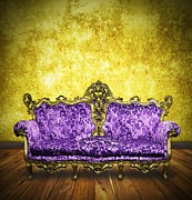 Old Wall Posters - Victorian Sofa In Retro Room Poster by Setsiri Silapasuwanchai