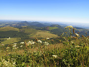 Chains Photos - view from Puy de Dome onto the volcanic landscape of the Chaine des Puys. Auvergne. France by Bernard Jaubert