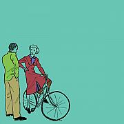 Wheel Drawings Metal Prints - Vintage Bike Couple Metal Print by Karl Addison