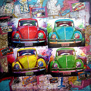 Rock N Roll Mixed Media Originals - 4 Volkswagons  by Jerry  Berta