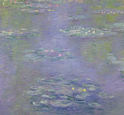 Reflection On Calm Pond Prints - Waterlilies Print by Claude Monet
