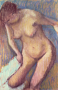Breasts Pastels Prints - Woman Drying Herself Print by Edgar Degas