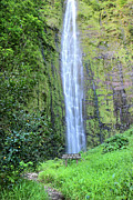Hana Photos - 400 foot Waimoku falls maui by Pierre Leclerc