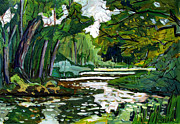 Shades Of Green Prints - 40shades Ofgreen Eel River Print by Charlie Spear