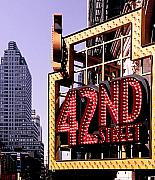 Lights Mixed Media Framed Prints - 42nd Street New York City Framed Print by Linda  Parker