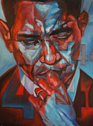 Barack Obama Drawings Prints - 44 Print by Steve Hunter