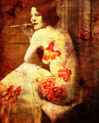 Antique Mixed Media Originals - Winsome Woman  by Chris Andruskiewicz