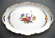 Flower Ceramics Originals - 460  big oval Dresden Tray by Wilma Manhardt