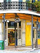 New Orleans Drawings - 47  French Quarter Corner Store by John Boles