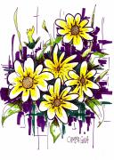 Purple Flowers Drawings - Untitled by Teddy Campagna