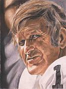 Quarterback Paintings - The Old Man - George Blanda by Kenneth Kelsoe