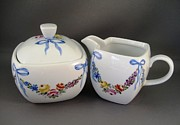 Blue Flowers Ceramics - 498 Sugar and Creamer by Wilma Manhardt