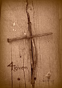 The Wooden Cross Prints - 4Given Forgiven Print by Cindy Wright