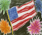 Usa Flag Pastels Posters - 4th of July Poster by Jessika and Art with a Heart In Healthcare
