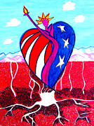 4th July Painting Metal Prints - 4TH of July Metal Print by Seshadri Sreenivasan