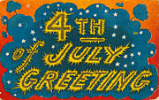 Fourth Of July Framed Prints - 4th Of July Vintage Postcard With Fireworks Framed Print by Circa