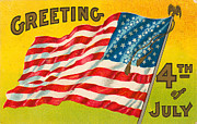 Memories Of The Past Posters - 4th Of July Vintage Postcard With Flag Poster by Circa