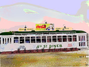 Charles-shoup.fineartamerica.com Mixed Media Framed Prints - 4th Street Diner Framed Print by Charles Shoup