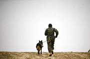 Dog Walking Posters - A Dog Handler And His Military Working Poster by Stocktrek Images