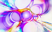 Rainbow Digital Art Metal Prints - Abstract Of Circle  Metal Print by Setsiri Silapasuwanchai