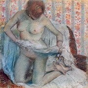 Female Nude Pastels Framed Prints - After the Bath Framed Print by Edgar Degas