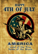 Fourth Of July Digital Art Posters - American revolution soldier general  Poster by Aloysius Patrimonio