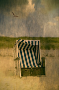 Gull Seagull Framed Prints - Beach Chair Framed Print by Joana Kruse