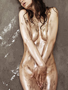 Smudged Framed Prints - Beautiful Soiled Naked Womans Body Framed Print by Oleksiy Maksymenko