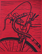 Linoluem Drawings Originals - Bike 2 by William Cauthern