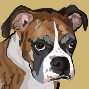 Puppy Digital Art Metal Prints - Boxer Dog Portrait Metal Print by Robyn Saunders