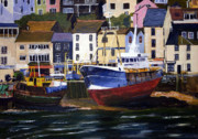 Moored Paintings - Brixham Harbour by Mike Lester
