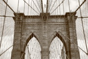 Flag Framed Prints Posters - Brooklyn Bridge - New York City Poster by Frank Romeo