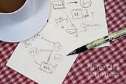 Table Cloth Posters - Business Plan Poster by Photo Researchers, Inc.