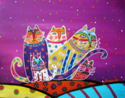Animal Lover Paintings - 5 Cats by Pristine Cartera Turkus
